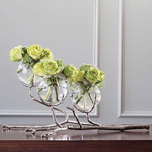 MY SWANKY HOME Modern Twig Branch Metal Glass Bud Vase   Silver Triple 3 Centerpiece -