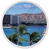 Pixels Round Beach Towel With Tassels featuring ''Waikiki Beach, Honolulu, Hawaii, Usa'' by Pixels