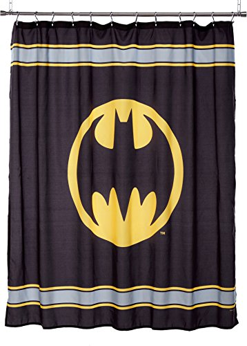 Warner Bros Batman Logo Microfiber Shower Curtain, 72-Inch by 72-Inch