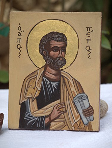 St Peter, hand-painted byzantine icon religious folk art of Greece