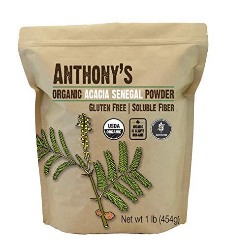- Anthony's Organic Acacia Senegal Powder (1lb), Batch Tested Gluten Free, Non-GMO, Soluble Fiber, Prebiotic