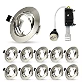 10 Packs - Modern LED GU10 Downlights Recessed Ceiling Lights Round Brushed Chrome Minimalist Spotlight 240V