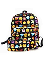 Emoji School Book Backpack Laptop Shoulder Bag Schoolbag Pencil Purse Cosmetic case