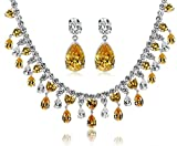 Epinki Jewelry Set Teardrop Cubic Zirconia Crystal Yellow Necklace And Earring Set For Bride