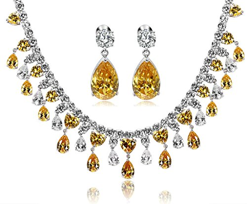 Epinki Jewelry Set Teardrop Cubic Zirconia Crystal Yellow Necklace And Earring Set For Bride by Epinki