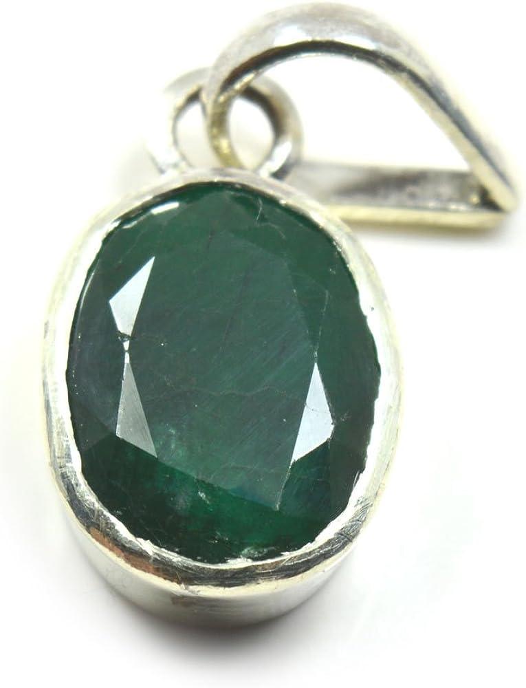 Collar de plata de ley 925 con colgante de esmeralda natural, diseño ovalado de 3 quilates