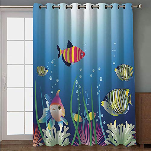 Blackout Patio Door Curtain,Aquarium,Aquarium Seascape with Colorful Tropical Fishes Bubbles Seaweed Marine Theme Decorative,Blue Pink Green,for Sliding & Patio Doors, 102