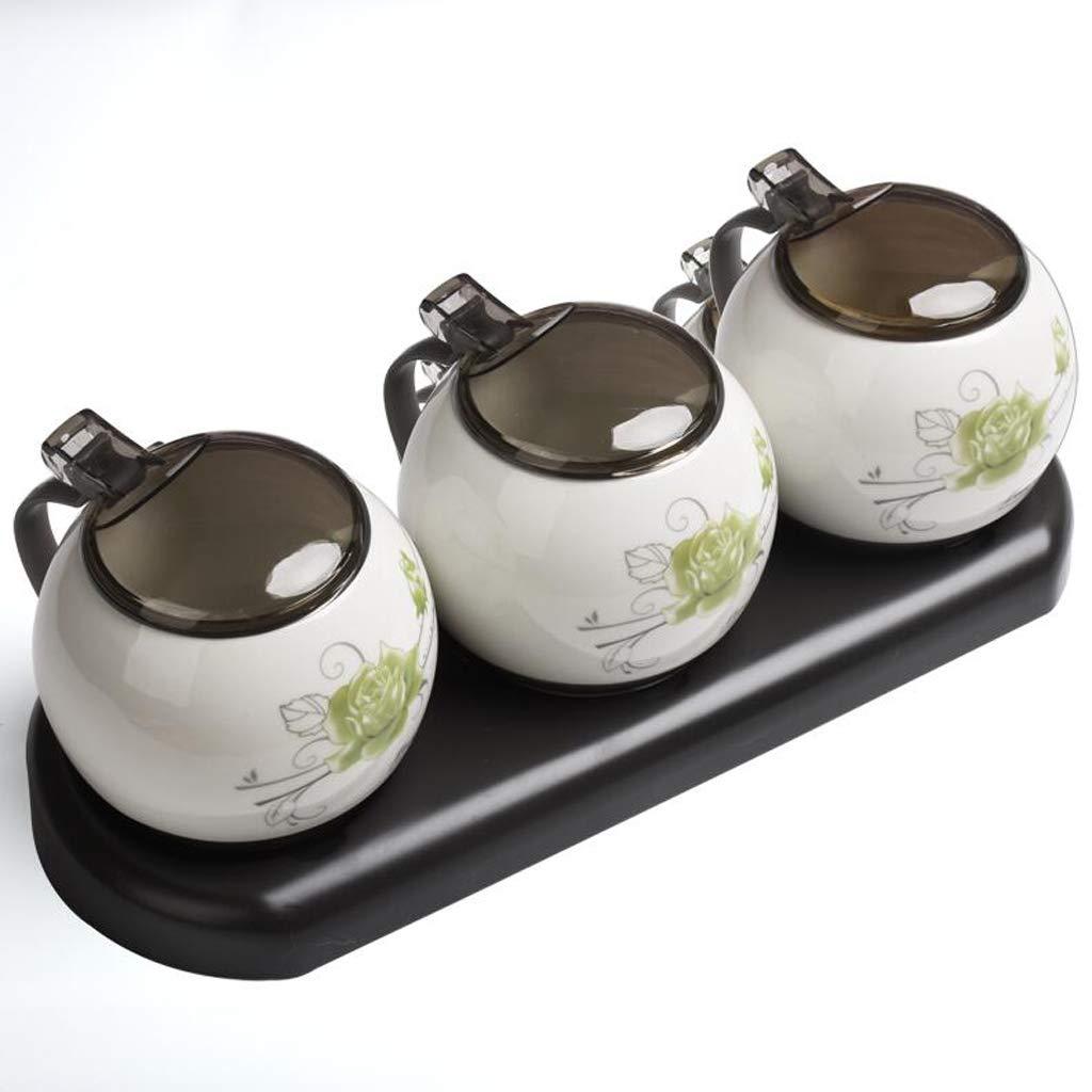 Caja de Almacenamiento de condimentos de cerámica cerámica cerámica Sal MSG Caja de condimentos Aceite de Cocina Salinas Juego de Tarro de condimentos Combinación de hogar Estilo Europeo Lostgaming d9ef15