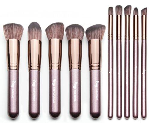 Qivange Kabuki Brush Set,Soft Foundation Bronzer Eyeshadow Cosmetic Brushes(10pcs, Coffee Gold)