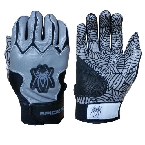 Price comparison product image Spiderz Youth WEB Batting Glove Silicone Spider Web Palm (Black/Grey, Youth Large)