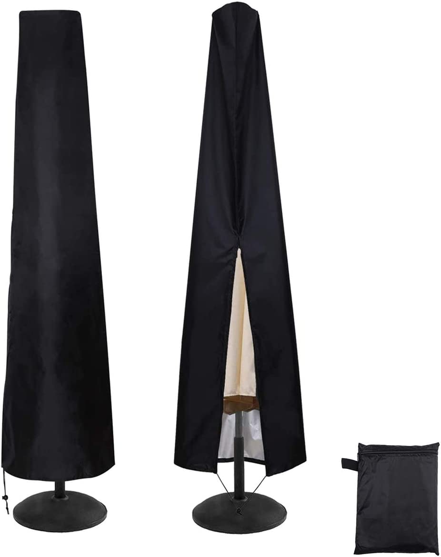 ZXT 190 cm Funda para Sombrilla,Funda Sombrilla Jardín Impermeable, Funda Protectora para Parasol,Cierre de Cremallera Recubrimiento Protector Solar- Negro