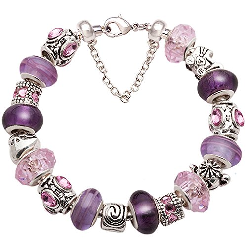 Mother Bracelet Purple and Pink Glass Bead Silver-tone Complete Charm Beaded Bracelet Jewelry