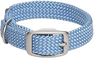 product image for Mendota Pet Double Braid Collar - Satin Nickel - Dog Collar - Made in The USA - Sky Blue , 9/16 in x 12 in Junior