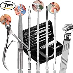 Nail Clippers Cuticle Nipper Pusher Manicure Set, AImi Professional Nail Polish Remover Tool Gel Nail Art Kit - Stainless Steel,Travel, Gift - 7 Pcs (Manicure set, Black)