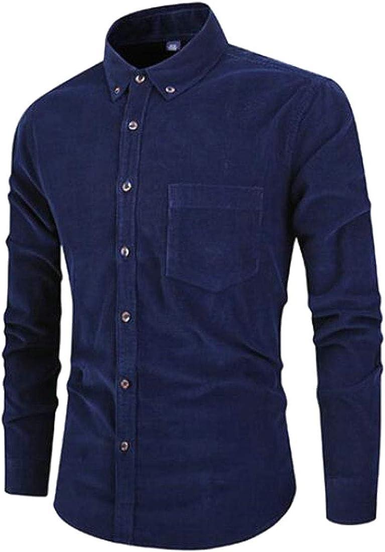 ARTFFEL Mens Corduroy Slim Long Sleeve Button Up Casual Business Cotton Dress Shirts