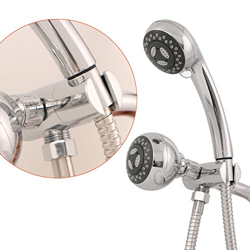 durable service Bopai Universal 3-Way Shower Head Diverter Mount Combo Components Adjustable Hand Shower Mounts with 1/2 IPS Connector for Showerhead Chrome