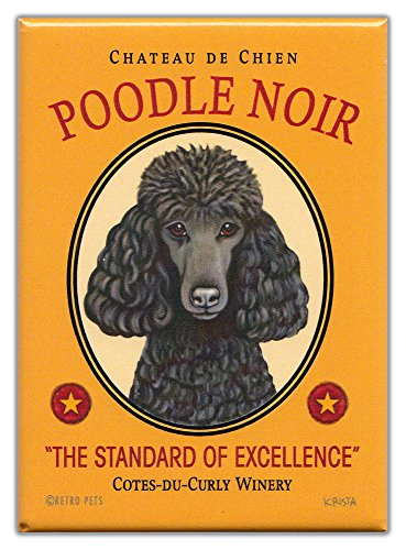 Retro Dogs Refrigerator Magnets: POODLE | WINERY | Vintage Advertising Art