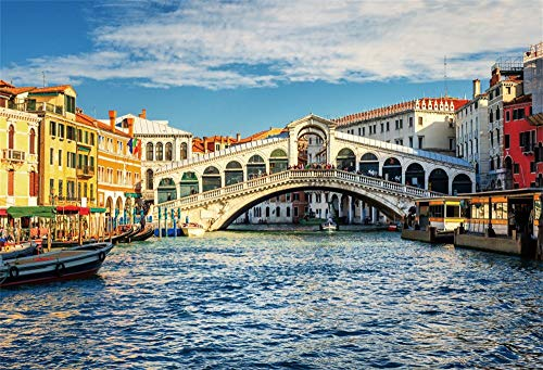OFILA Italy Venice Backdrop 12x10ft Rialto Bridge Photos Background Grand Canal Italian Landmark Traveled Photos Venice Theme Party Decoration Old Houses Events Shoots Digital Studio Props