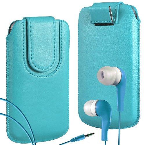 N4U Online - Apple iPhone 5 haut de gamme en cuir PU Tirez cas de secousse Tab Housse Etui avec sangle fermeture magnétique et assortis Intra-auriculaires - Bleu