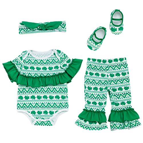 TENDYCOCO 4PCS Baby St. Patricks Day Outfit Shamrocks Costume Set Short Sleeve Romper, Clover Pants, Headband and Shoes Set -