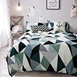 What Are the Measurements of a King Size Bed Tealp Geometric Triangle Pattern Duvet Cover Set, 3 Piece(1 duvet cover+2 pillow shams), Modern Style Printed Bedding Sets with Hidden Zipper,King Size,Green & White