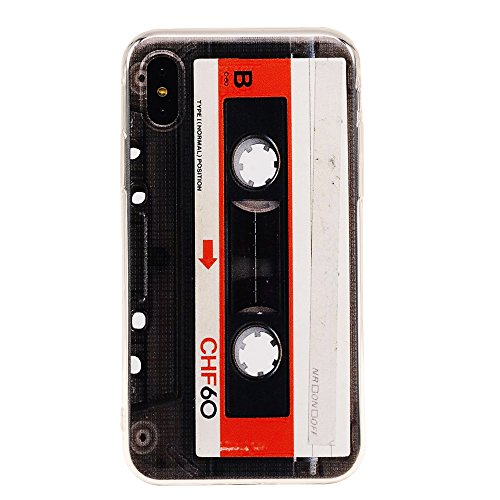 TNCY Bumper Soft Music Cassette Tape Rubber Silicone Protective Skin Back Cover Compatible with iPhone Xs (2018) iPhone X (2017)