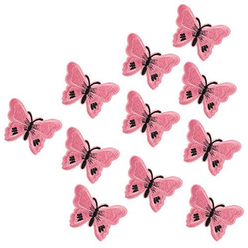XUNHUI Pink Embroidered Butterfly Patch Iron On Clothes Insects Sticker for Garment DIY Butterflies Patches Applique 10 - Embroidered Skirt Butterfly