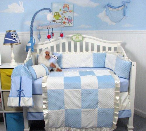 New Blue Minky Dot Chenille Baby Crib Nursery Bedding Set