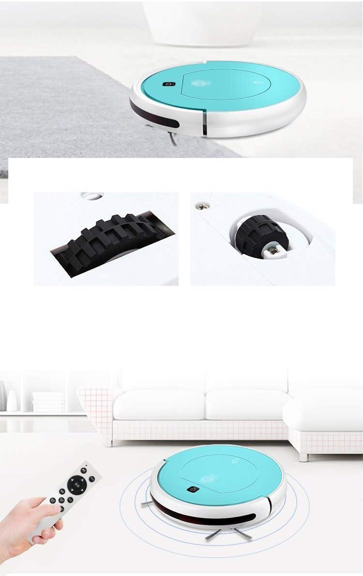 Aspirateur robotique Nettoyage Automatique pour les Poils d\'Animaux Pour Plancher Dur, Carreaux,Poils D\'animaux (Color : Blue) Black
