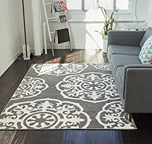 Lali dials suzani grey ivory modern area rug for Dining room rugs 7 x 10