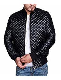 Mens Slim Fit Jacket - Black Quilted Stylish Biker Leather Motorcycle Bomber Coat