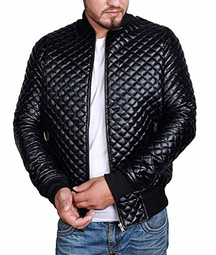 Mens Slim Fit Jacket - Black Quilted Stylish Biker for sale  Delivered anywhere in Canada