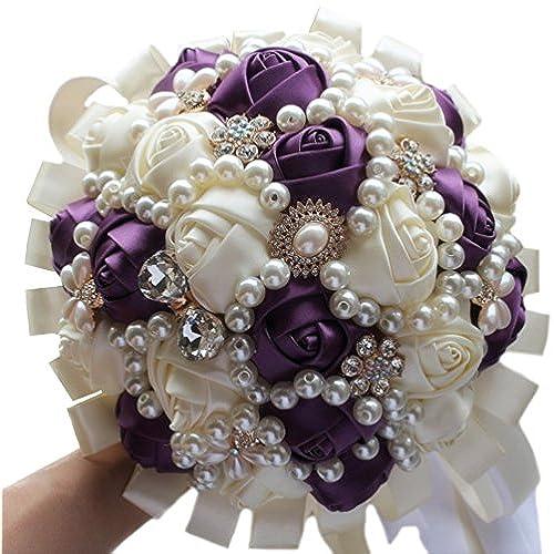 Dark Purple and White Wedding Bouquets: Amazon.com