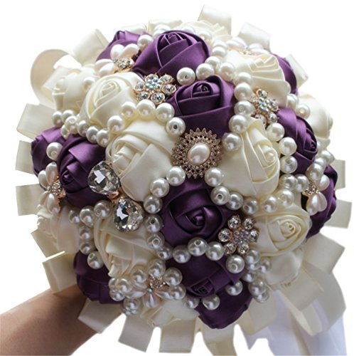 USIX Handcraft Popular Satin Rose Rhinestone Brooch Flower Pearl Bridal Holding Wedding Bouquet Wedding Flower Arrangements Bridesmaid Bouquet(Dark Purple+Ivory)