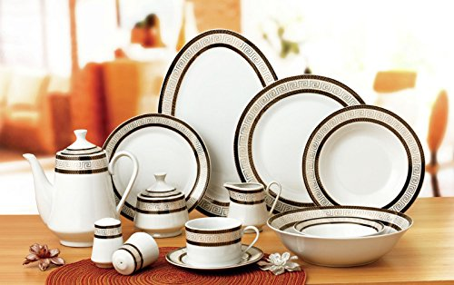 Euro Porcelain 57-pc Banquet Dinnerware Set, Luxury Bone China Tableware, Service for 8 - Euro White Porcelain