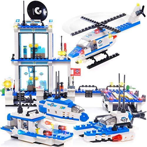 EXERCISE N PLAY 564pcs City Police, City Coast Guard Head Quarters Building Kit, City Police Station Building Sets, City Sets, Police Sets with Ship and Boat for Boys Gifts(Contain -