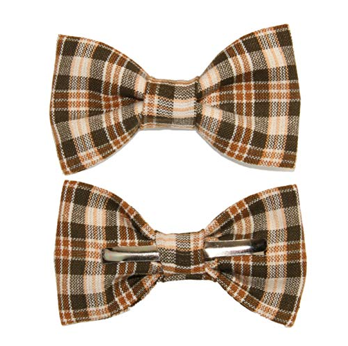 amy2004marie Toddler Boy 4T 5T Brown/Tan Plaid Clip On Cotton Bow Tie