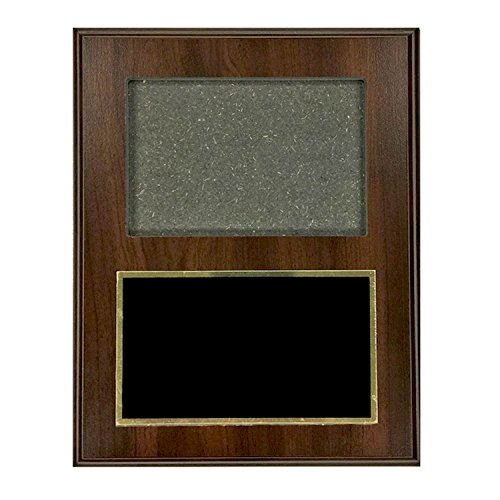 Black Award Plaque (Customizable Walnut Finished Photo Plaque with Black Brass Plate, includes Personalization)
