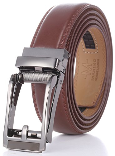 Marino Men's Genuine Leather Ratchet Dress Belt with Open Linxx Buckle, Enclosed in an Elegant Gift Box - Silver and Brown Open Buckle with Brown Leather - Custom: Up to ()