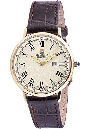 Steinhausen Men's Altdorf Collection Stainless Steel Swiss-Quartz Watch with Leather Strap, Brown, 20 (Model: S0124)