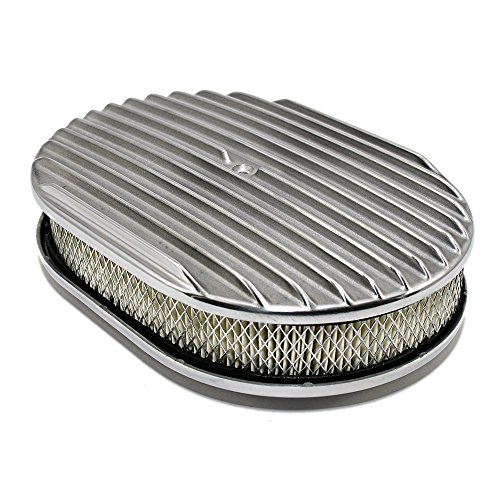 Assault Racing Products A6020-3 12 x 2 Oval Full Finned Polished Aluminum Air Cleaner Assembly Retro -