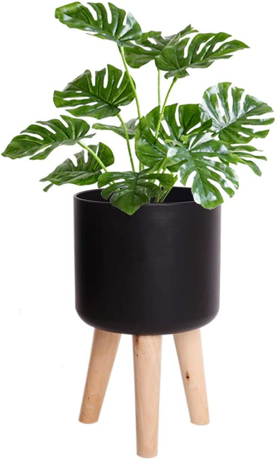 Metal Plant Pot with Wood Stand - 9.3 Inch Modern Round Decorative Flower Pot Indoor with Wood Planter Stand, Black, Home Decor Gift