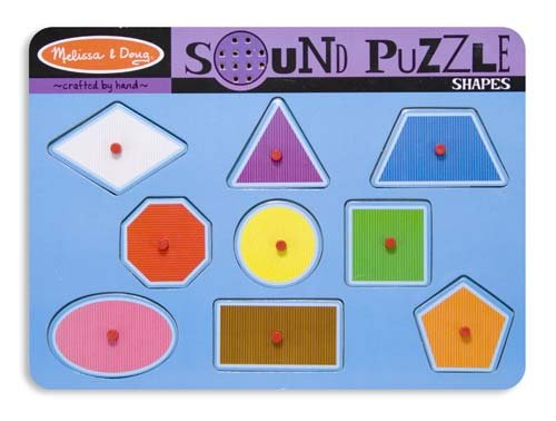Melissa & Doug 2 Item Bundle 728 Shapes Sound Puzzle + Free Activity Book