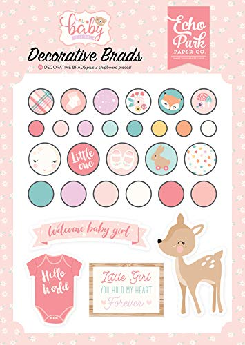 Echo Park Paper Company Hello Baby Girl Decorative Brad, Pink, Teal, Yellow, Purple, Orange ()