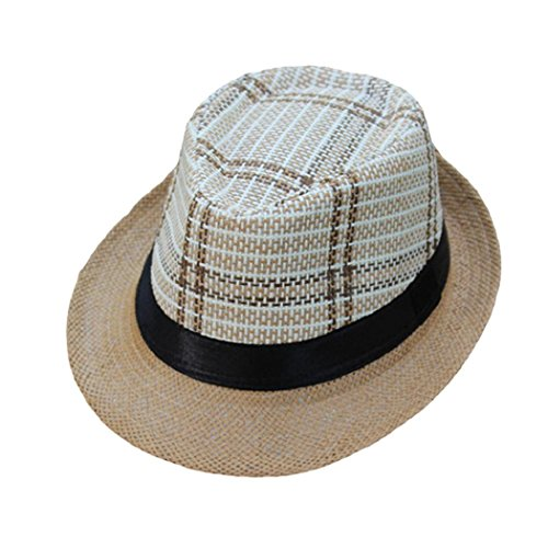 Brimmed Cloche (ShenPourtor Men/Women's Summer Panama Style Trilby Fedora Straw Sun Hat Lattice Pattern WIth Stylish Hat Band (A))