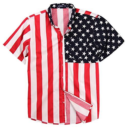 Urban Boundaries Mens American Flag Button Down Patriotic Shirt (Large)