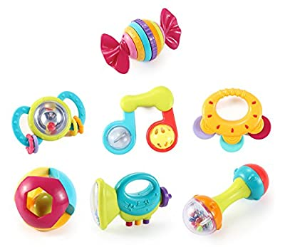 Music Party Fun 7 Piece Baby Rattle and Teether Toy Gift Set in Milk Bottle by Liberty Imports that we recomend individually.