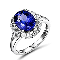 White Gold With Tanzanite Diamond Ring