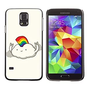 Licase Hard Protective Case Skin Cover for Samsung Galaxy S5 - Rainbow Cloud Illustration