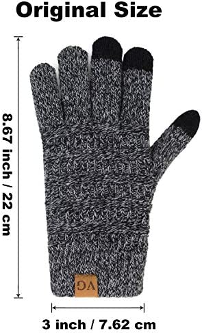 Womens Winter Touchscreen Gloves Cable Knit Warm Lined 3 Fingers Duallayer Touch Screen Texting
